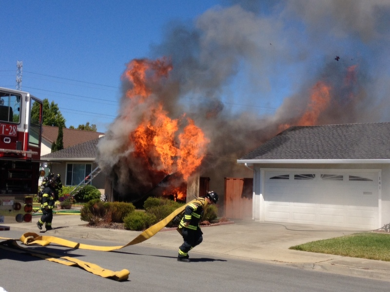 San Mateo Firefighters battle structure fire.